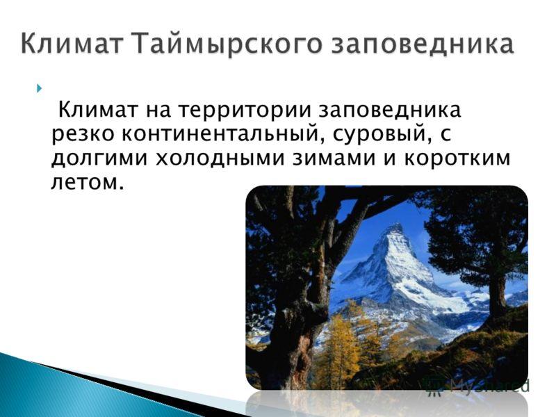 Климат на территории заповедника резко континентальный, суровый, с долгими холодными зимами и коротким летом.