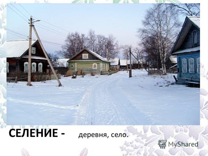 СЕЛЕНИЕ - деревня, село.