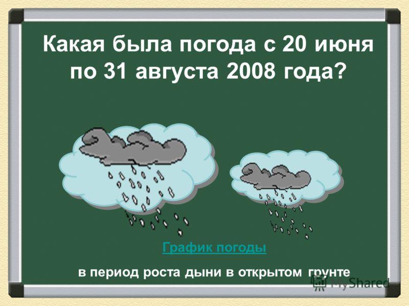 График погоды в период роста дыни в открытом грунте Какая была погода с 20 июня по 31 августа 2008 года?
