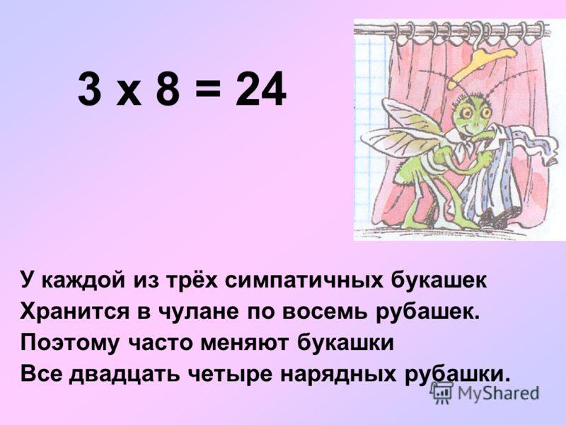 3 х 8 = 24 У каждой из трёх симпатичных букашек Хранится в чулане по восемь рубашек. Поэтому часто меняют букашки Все двадцать четыре нарядных рубашки.