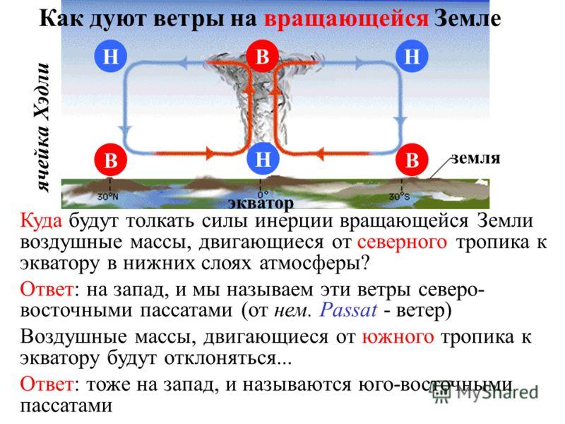 В Н НН В В земля экватор ячейка Хэдли Как дуют ветры на вращающейся Земле Куда будут толкать силы инерции вращающейся Земли воздушные массы, двигающиеся от северного тропика к экватору в нижних слоях атмосферы? Ответ: на запад, и мы называем эти ветр