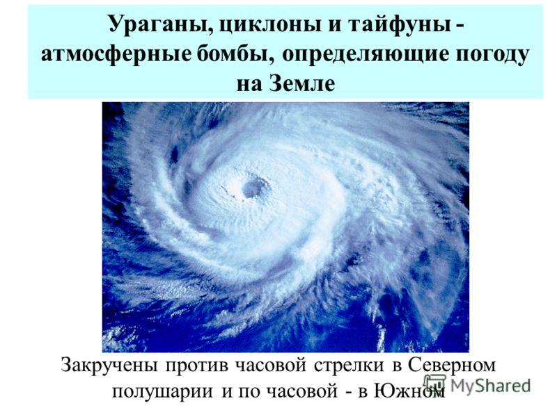 Ураганы, циклоны и тайфуны - атмосферные бомбы, определяющие погоду на Земле Закручены против часовой стрелки в Северном полушарии и по часовой - в Южном