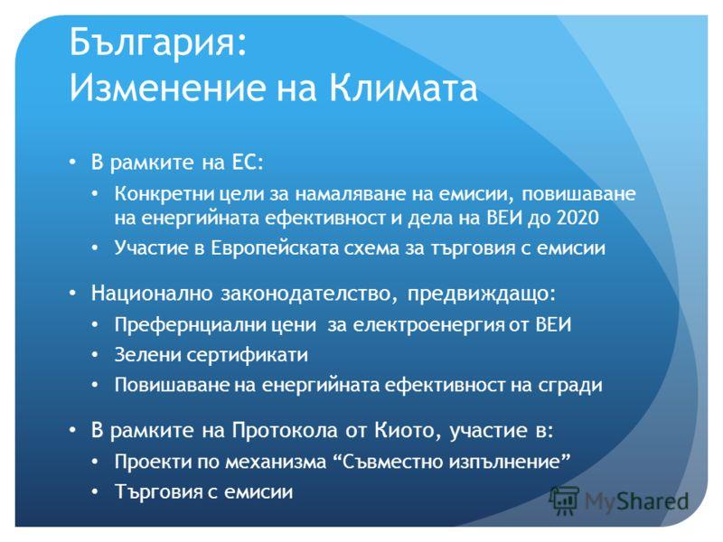 България: Изменение на Климата В рамките на ЕС: Конкретни цели за намаляване на емисии, повишаване на енергийната ефективност и дела на ВЕИ до 2020 Участие в Европейската схема за търговия с емисии Национално законодателство, предвиждащо: Префернциал