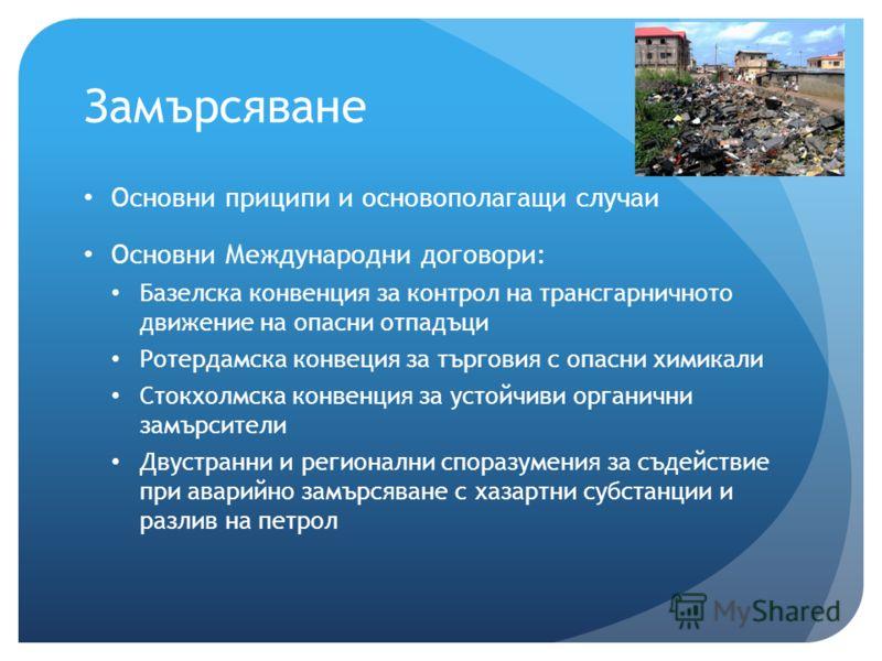 Замърсяване Основни приципи и основополагащи случаи Основни Международни договори: Базелска конвенция за контрол на трансгарничното движение на опасни отпадъци Ротердамска конвеция за търговия с опасни химикали Стокхолмска конвенция за устойчиви орга