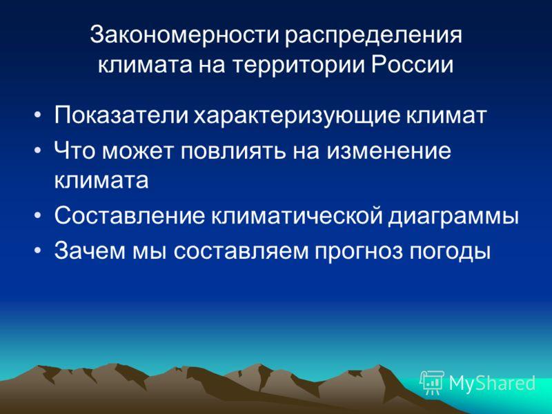 Закономерности распределения климата на территории России Показатели характеризующие климат Что может повлиять на изменение климата Составление климатической диаграммы Зачем мы составляем прогноз погоды