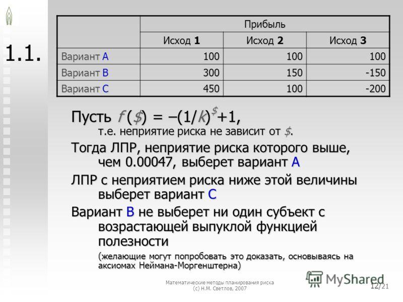Математические методы планирования риска (с) Н.М. Светлов, 2007 12/ 21 1. Пусть f ($) = –(1/k) $ +1, т.е. неприятие риска не зависит от $. Тогда ЛПР, неприятие риска которого выше, чем 0.00047, выберет вариант A ЛПР с неприятием риска ниже этой велич
