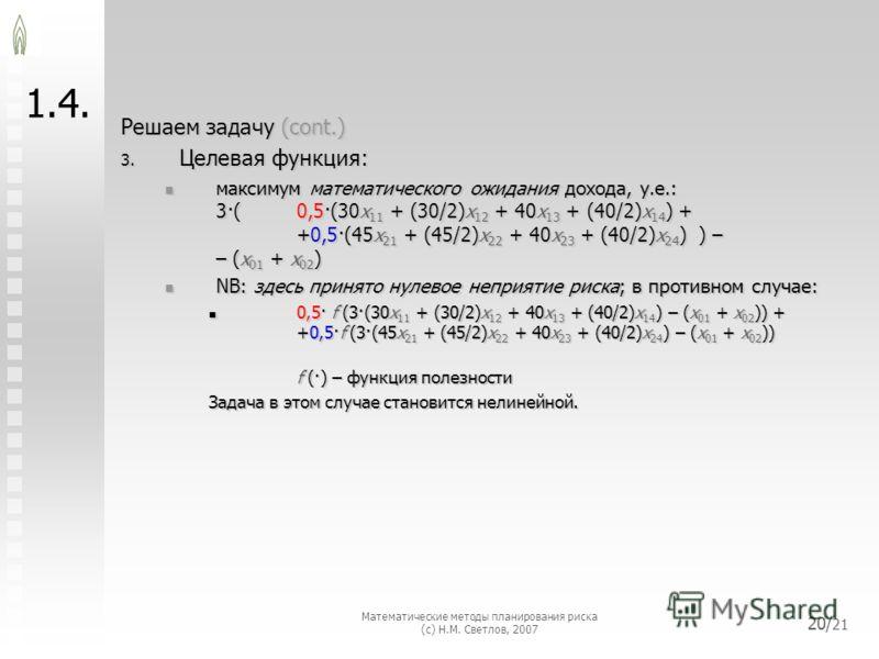Математические методы планирования риска (с) Н.М. Светлов, 2007 20/ 21 1.4. Решаем задачу (cont.) 3. Целевая функция: максимум математического ожидания дохода, у.е.: 3·(0,5·(30x 11 + (30/2)x 12 + 40x 13 + (40/2)x 14 ) + +0,5·(45x 21 + (45/2)x 22 + 40