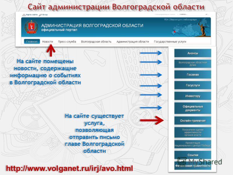 На сайте помещены новости, содержащие информацию о событиях в Волгоградской области На сайте существует услуга, позволяющая отправить письмо главе Волгоградской области http://www.volganet.ru/irj/avo.html