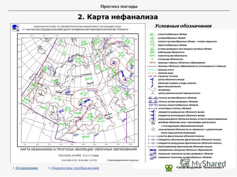 Прогноз погоды 2. Карта нефанализа Оглавление Оглавление Параметры изображения Условные обозначения
