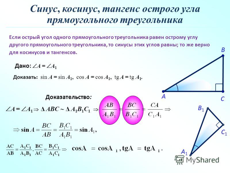 Если острый угол одного прямоугольного треугольника равен острому углу другого прямоугольного треугольника, то синусы этих углов равны; то же верно для косинусов и тангенсов. C A B C1 A1 B1 Доказательство: Синус, косинус, тангенс острого угла прямоуг