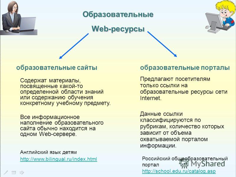 ОбразовательныеWeb-ресурсы Предлагают посетителям только ссылки на образовательные ресурсы сети Internet. Данные ссылки классифицируются по рубрикам, количество которых зависит от объема охватываемой порталом информации. образовательные сайты образов