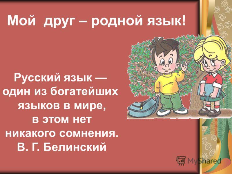 Мой друг – родной язык! Русский язык один из богатейших языков в мире, в этом нет никакого сомнения. В. Г. Белинский