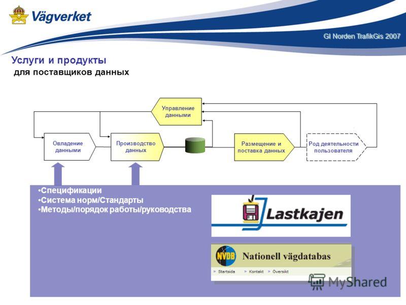 GI Norden TrafikGis 2007 Спецификации Система норм/Стандарты Методы/порядок работы/руководства Размещение и поставка данных Род деятельности пользователя Управление данными Овладение данными Производство данных Услуги и продукты для поставщиков данны