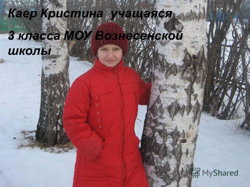 Над проектом работала Каер Кристина учащаяся 3 класса МОУ Вознесенской школы