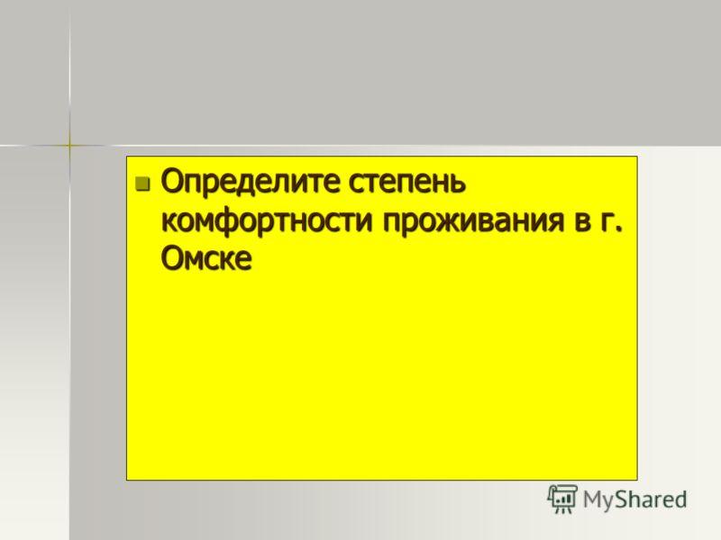 Определите степенькомфортности проживания в г.Омске