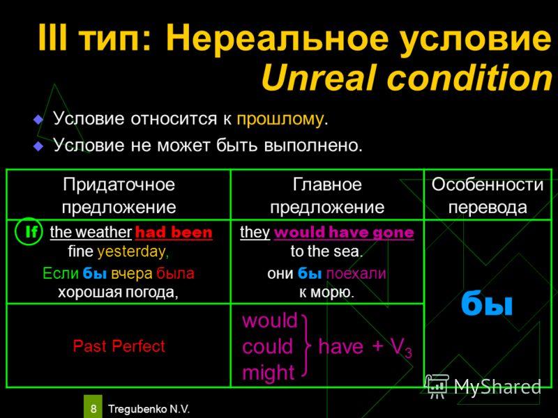 Tregubenko N.V. 8 III тип: Нереальное условие Unreal condition Условие относится к прошлому. Условие не может быть выполнено. Придаточное предложение Главное предложение Особенности перевода If the weather had been fine yesterday, Если бы вчера была