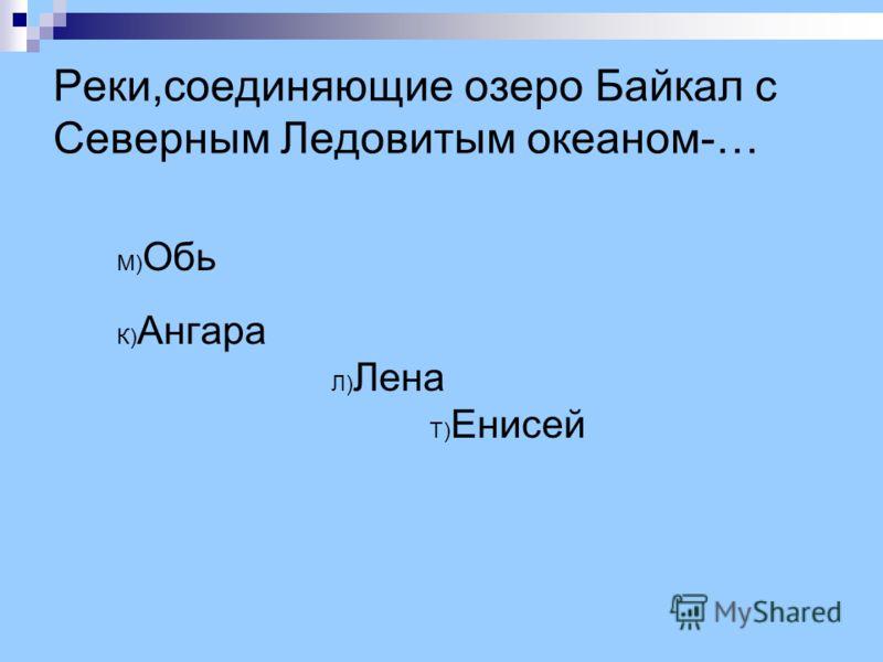 Реки,соединяющие озеро Байкал с Северным Ледовитым океаном-… М) Обь К) Ангара Л) Лена Т) Енисей