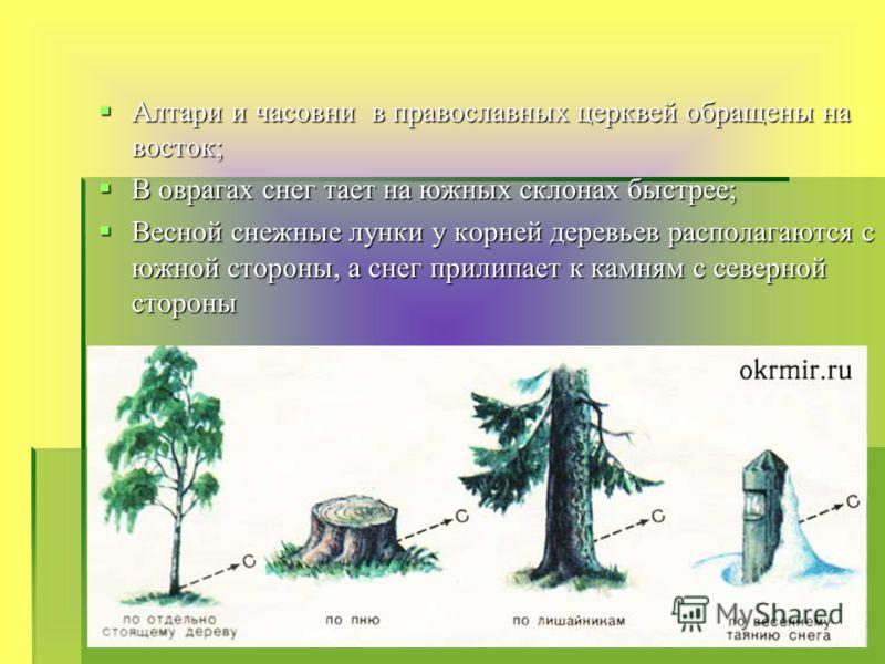 Алтари и часовни в православных церквей обращены на восток; В оврагах снег тает на южных склонах быстрее; Весной снежные лунки у корней деревьев располагаются с южной стороны, а снег прилипает к камням с северной стороны