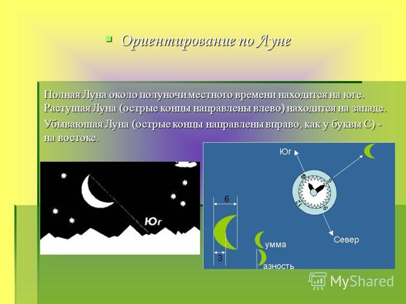 Ориентирование по Луне Полная Луна около полуночи местного времени находится на юге. Растущая Луна (острые концы направлены влево) находится на западе. Убывающая Луна (острые концы направлены вправо, как у буквы С) - на востоке.