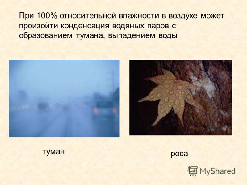 При 100% относительной влажности в воздухе может произойти конденсация водяных паров с образованием тумана, выпадением воды туман роса