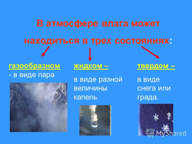 В атмосфере влага может находиться в трех состояниях: газообразном - в виде пара жидком – в виде разной величины капель твердом – в виде снега или града.