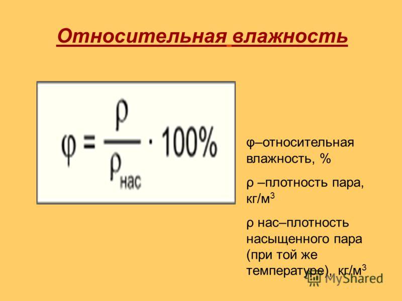 Относительная влажность φ–относительная влажность, % ρ –плотность пара, кг/м 3 ρ нас–плотность насыщенного пара (при той же температуре), кг/м 3