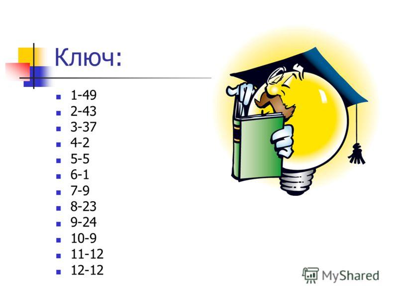 Ключ: 1-49 2-43 3-37 4-2 5-5 6-1 7-9 8-23 9-24 10-9 11-12 12-12