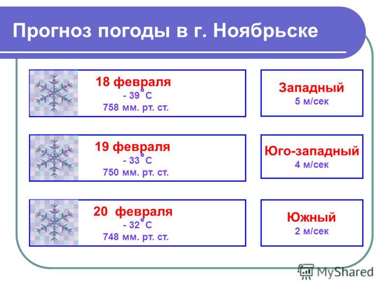 Прогноз погоды в г. Ноябрьске 18 февраля - 39 С 758 мм. рт. ст. 19 февраля - 33 С 750 мм. рт. ст. 20 февраля - 32 С 748 мм. рт. ст. Западный 5 м/сек Юго-западный 4 м/сек Южный 2 м/сек