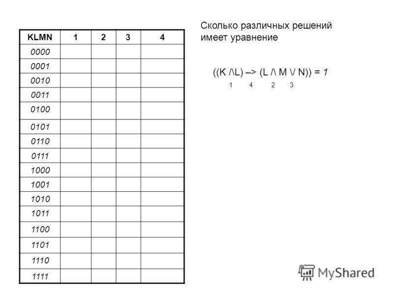 KLMN1234 000000 0001 0010 0011 0100 010101 0110 0111 1000 1001 10 1011 1100 1101 1110 11 ((K /\L) –> (L /\ M \/ N)) = 1 1 4 2 3 Сколько различных решений имеет уравнение