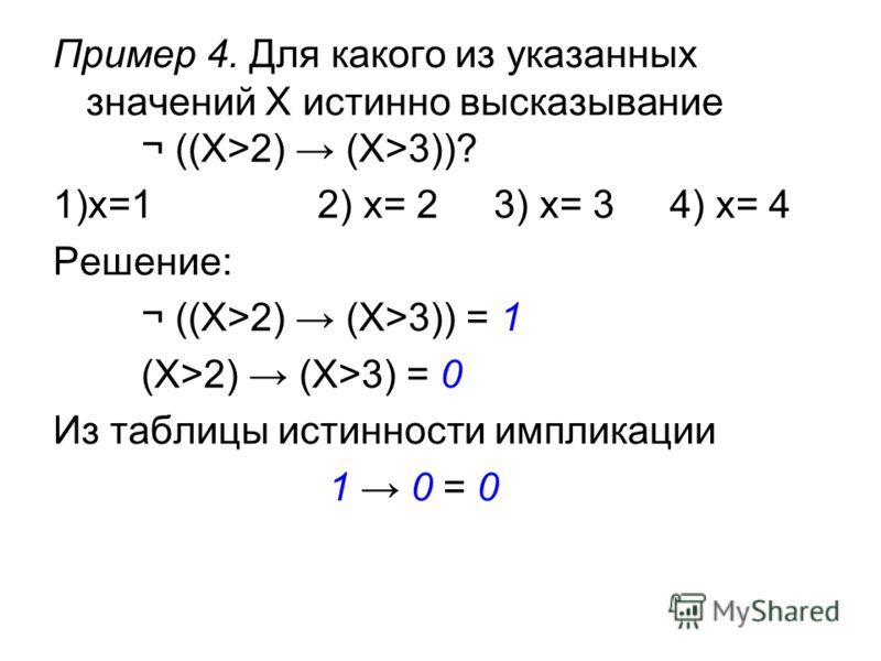 Пример 4. Для какого из указанных значений X истинно высказывание ¬ ((X>2) (X>3))? 1)x=12) x= 23) x= 34) x= 4 Решение: ¬ ((X>2) (X>3)) = 1 (X>2) (X>3) = 0 Из таблицы истинности импликации 1 0 = 0