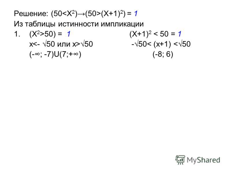 Решение: (50 (X+1) 2 ) = 1 Из таблицы истинности импликации 1.(X 2 >50) = 1 (X+1) 2 < 50 = 1 x 50 -50< (x+1)