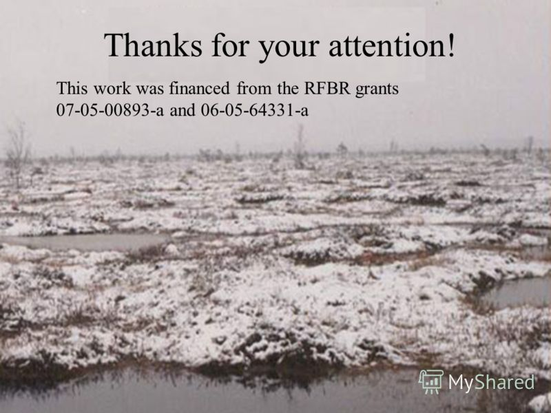 Thanks for your attention! This work was financed from the RFBR grants 07-05-00893-а and 06-05-64331-а
