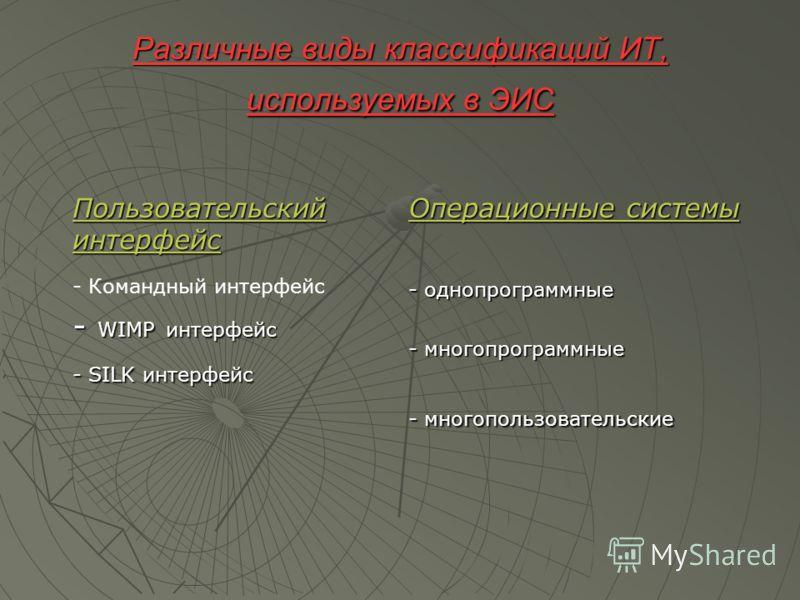 Различные виды классификаций ИТ, используемых в ЭИС Пользовательский интерфейс - Командный интерфейс - WIMP интерфейс - SILK интерфейс Операционные системы - однопрограммные - многопрограммные - многопользовательские