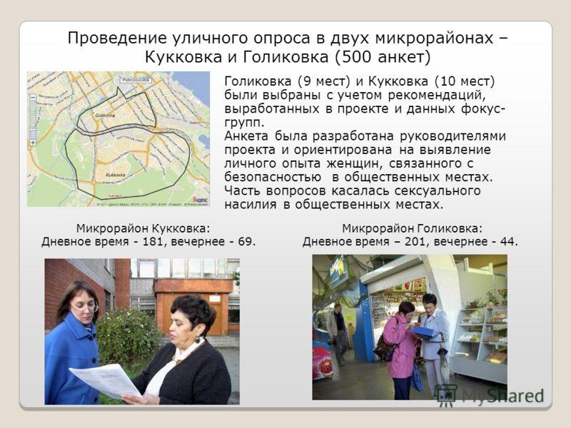 Проведение уличного опроса в двух микрорайонах – Кукковка и Голиковка (500 анкет) Голиковка (9 мест) и Кукковка (10 мест) были выбраны с учетом рекомендаций, выработанных в проекте и данных фокус- групп. Анкета была разработана руководителями проекта