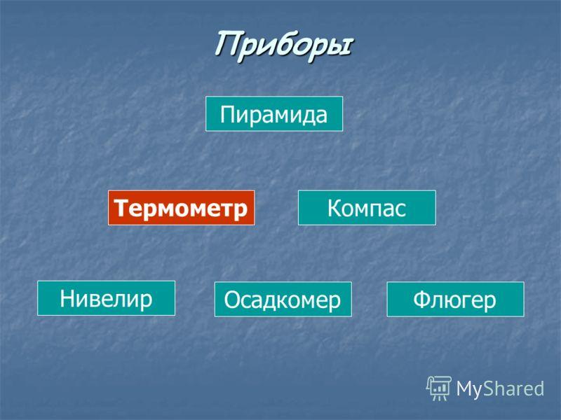 Пирамида ТермометрКомпас Нивелир ОсадкомерФлюгер Приборы
