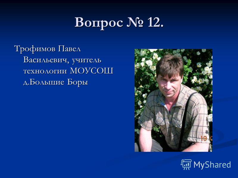 Вопрос 12. Трофимов Павел Васильевич, учитель технологии МОУСОШ д.Большие Боры