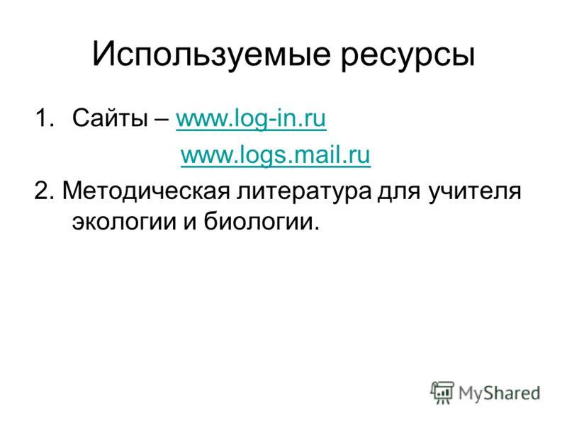 Используемые ресурсы 1.Сайты – www.log-in.ruwww.log-in.ru www.logs.mail.ru 2. Методическая литература для учителя экологии и биологии.