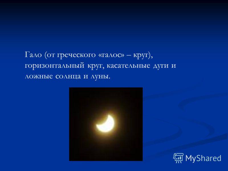 Гало (от греческого «галос» – круг), горизонтальный круг, касательные дуги и ложные солнца и луны.