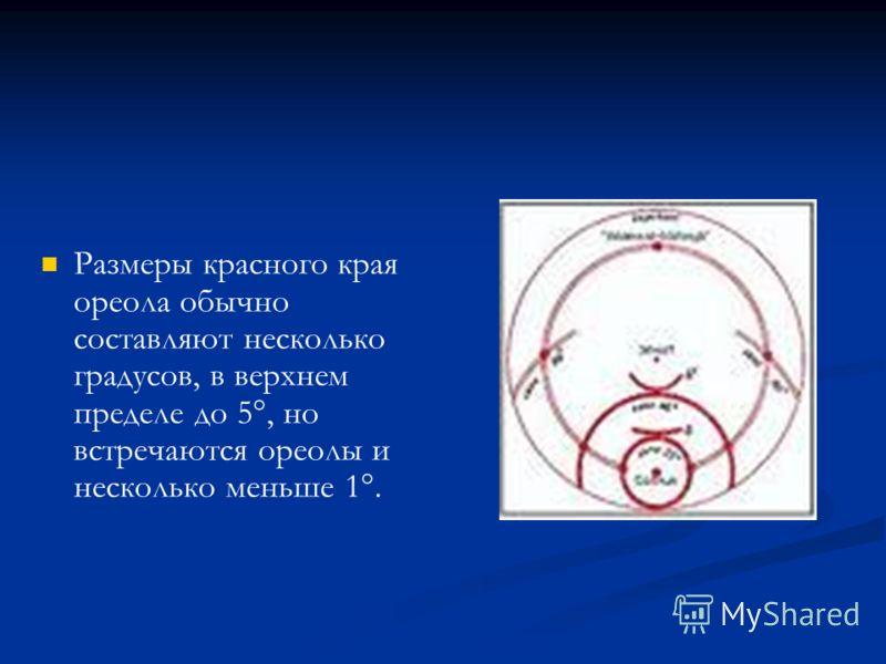 Размеры красного края ореола обычно составляют несколько градусов, в верхнем пределе до 5°, но встречаются ореолы и несколько меньше 1°.