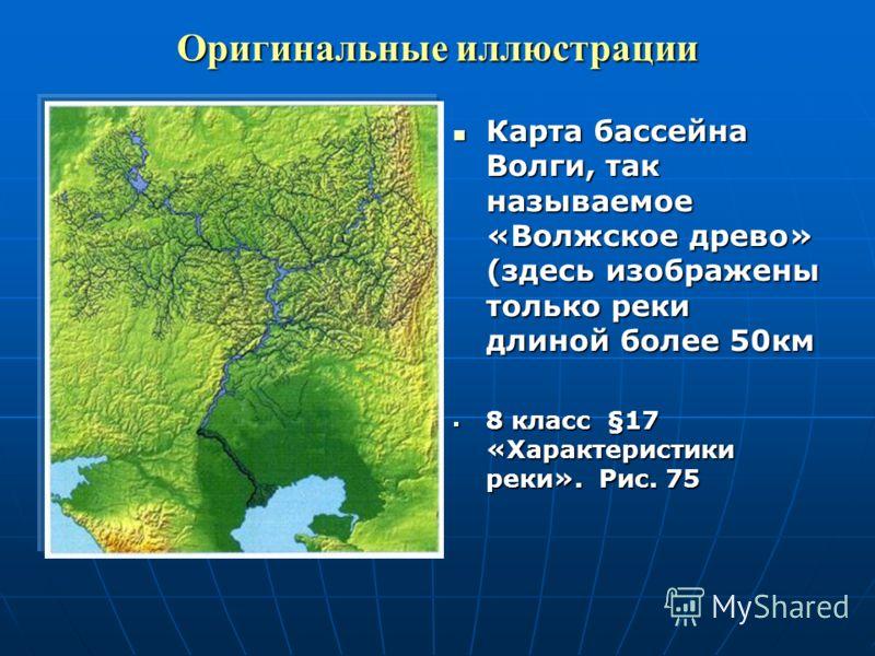 Оригинальные иллюстрации Карта бассейна Волги, так называемое «Волжское древо» (здесь изображены только реки длиной более 50км 8 класс §17 «Характеристики реки». Рис. 75