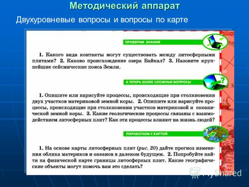 Методический аппарат Двухуровневые вопросы и вопросы по карте