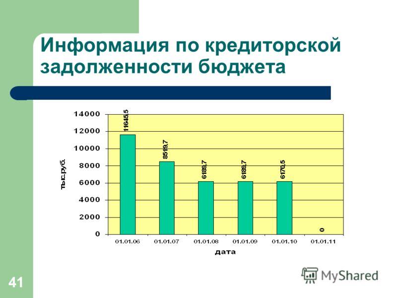 41 Информация по кредиторской задолженности бюджета