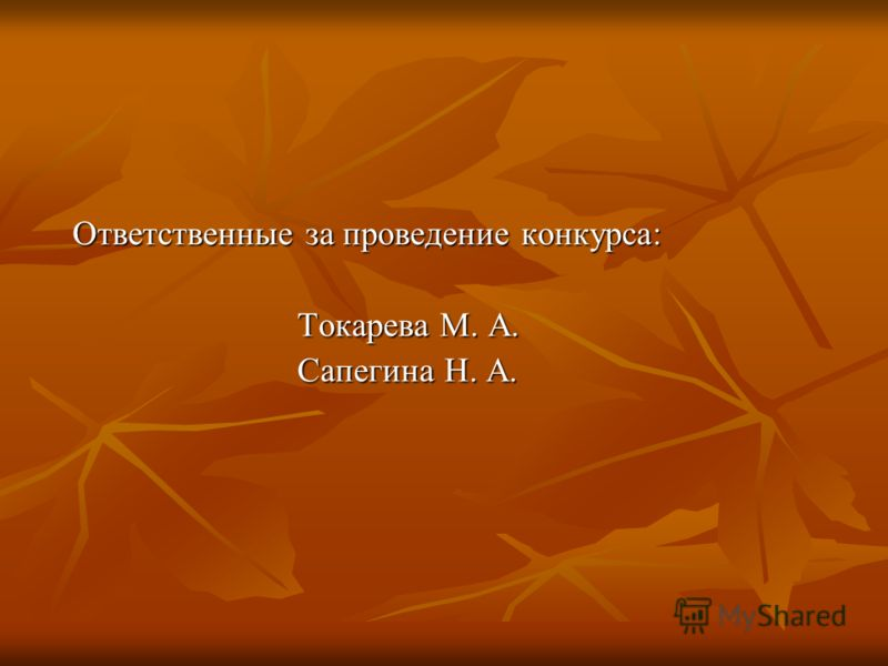 Ответственные за проведение конкурса: Токарева М. А. Сапегина Н. А.