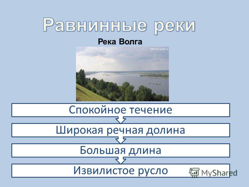Река Волга Извилистое русло Большая длина Широкая речная долина Спокойное течение