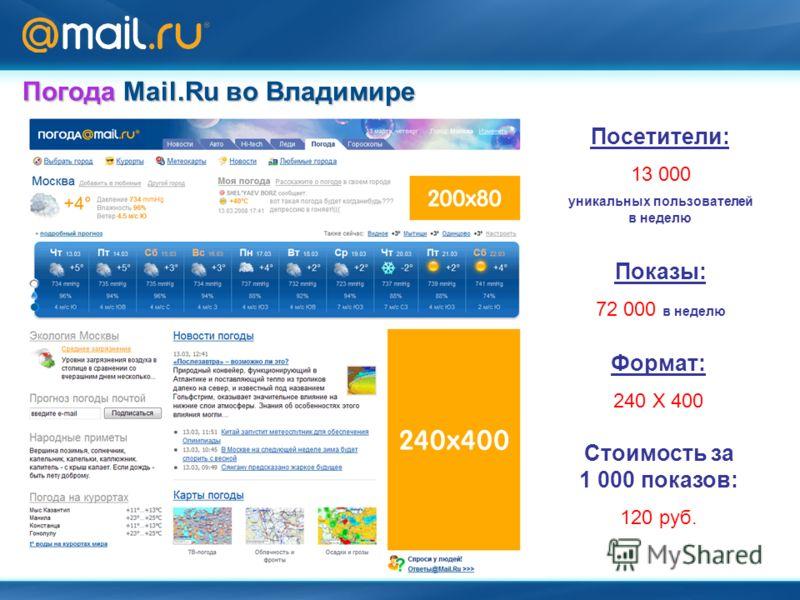Формат: 240 Х 400 Посетители: 13 000 уникальных пользователей в неделю Показы: 72 000 в неделю Стоимость за 1 000 показов: 120 руб. Погода Mail.Ru во Владимире