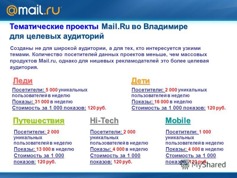 Тематические проекты Mail.Ru во Владимире для целевых аудиторий Леди Посетители: 5 000 уникальных пользователей в неделю Показы: 31 000 в неделю Стоимость за 1 000 показов: 120 руб. Дети Посетители: 2 000 уникальных пользователей в неделю Показы: 16