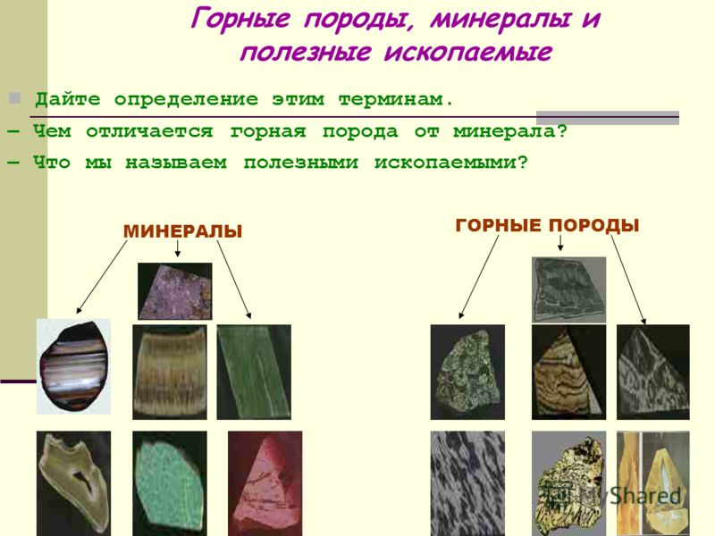 Горные породы, минералы и полезные ископаемые Дайте определение этим терминам. – Чем отличается горная порода от минерала? – Что мы называем полезными ископаемыми? МИНЕРАЛЫ ГОРНЫЕ ПОРОДЫ