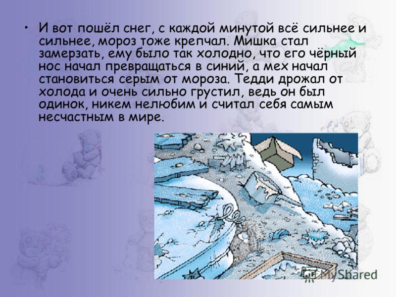 И вот пошёл снег, с каждой минутой всё сильнее и сильнее, мороз тоже крепчал. Мишка стал замерзать, ему было так холодно, что его чёрный нос начал превращаться в синий, а мех начал становиться серым от мороза. Тедди дрожал от холода и очень сильно гр