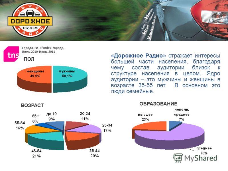 Города РФ - RIndex-города. Июль 2010-Июнь 2011 «Дорожное Радио» отражает интересы большей части населения, благодаря чему состав аудитории близок к структуре населения в целом. Ядро аудитории – это мужчины и женщины в возрасте 35-55 лет. В основном э