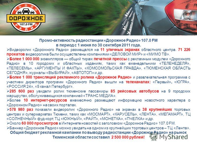 Промо-активность радиостанции «Дорожное Радио» 107.0 FМ в период с 1 июня по 30 сентября 2011 года. Видеоролик «Дорожного Радио» размещался на 11 уличных экранах областного центра. 71 226 прокатов видеоролика были осуществлены компаниями «ДЕЛОВОЙ МИР